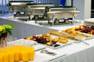 Buffet meal at a hotel convention